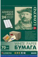 Этикетки Lomond 2100165, самоклеящиеся, цвет:белый, A4, 37x70мм, 24 штуки на листе, 50 листов самоклеящиеся этикетки index a4 210x297 1 этикетка на листе 25 листов в упаковке цвет красный