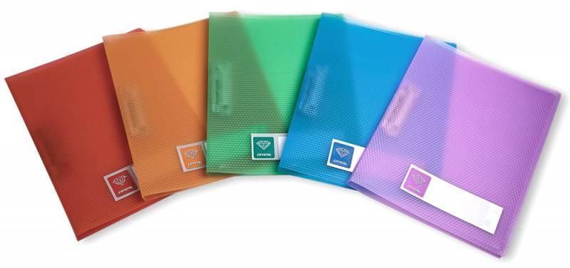 Папка Бюрократ Crystal -CR05C, металлический зажим, цвет:ассорти, A4, пластик 0.5мм-CR05C