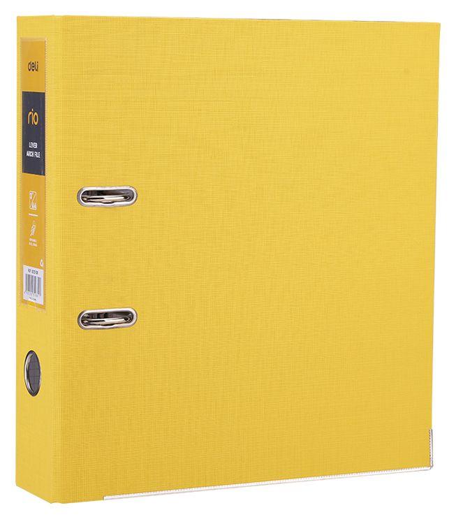 Папка-регистратор Deli EB20150, A4, 75мм, цвет: желтый папка регистратор rainbow a4