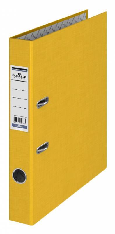 Папка-регистратор Durable, формат А4, цвет: желтый папка регистратор durable 3220 01 a4 50мм бумвинил черный 25 шт кор