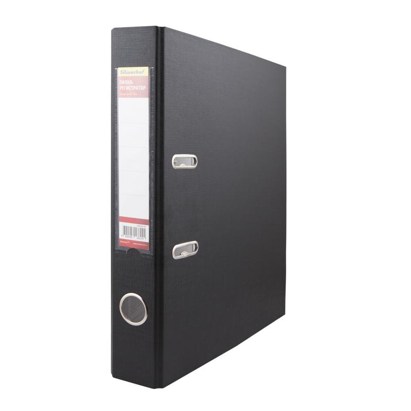Папка-регистратор Silwerhof 355020-01, ПВХ/бумага, цвет: черный, A4, 50 мм папка регистратор rainbow a4