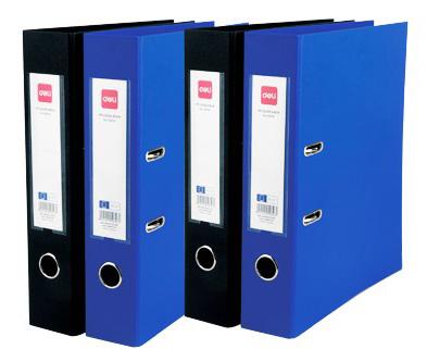Папка-регистратор Deli E39653BLACK, РР/РР, цвет: черный, A4, 50 мм папка регистратор rainbow a4