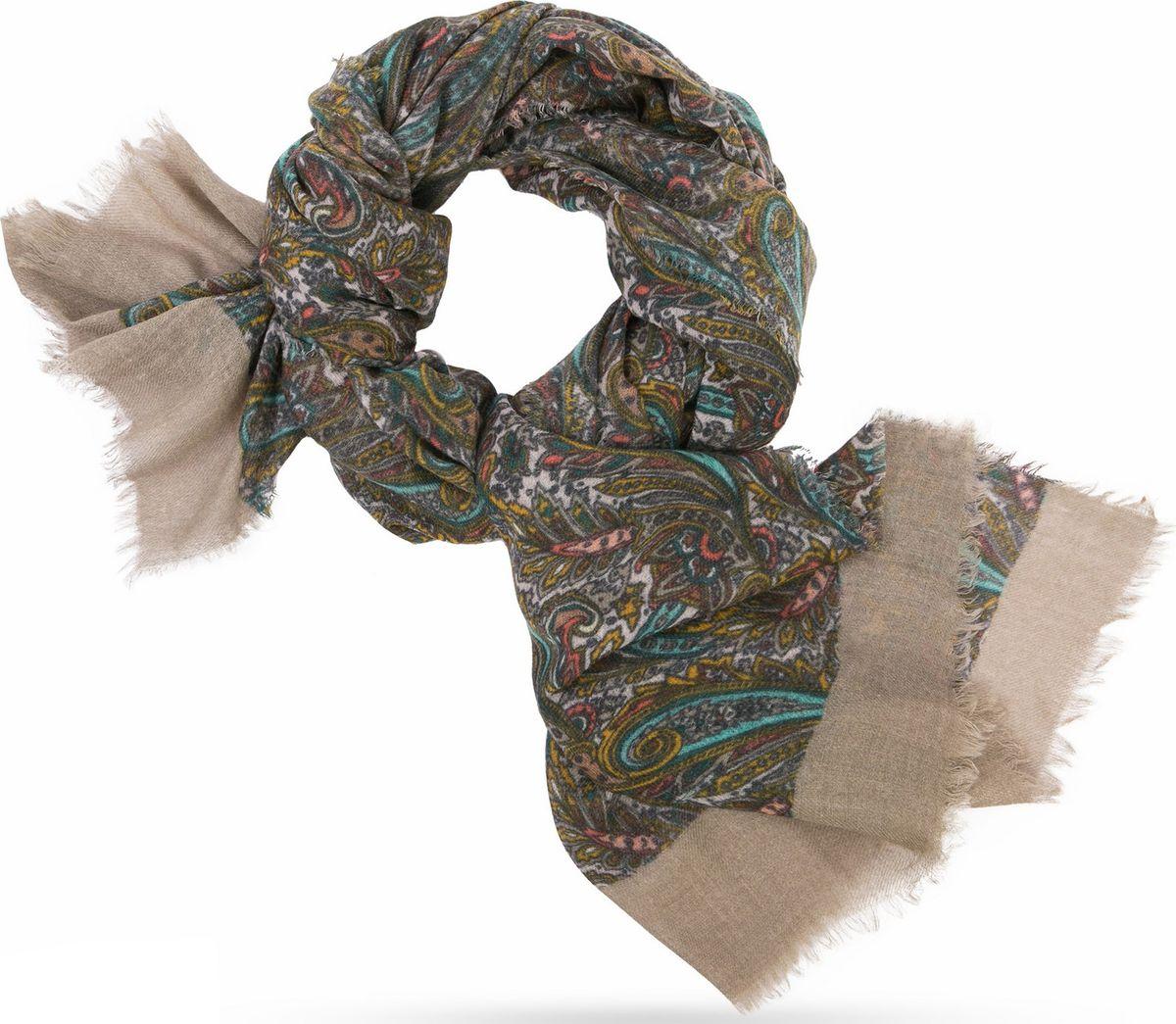 Палантин Michel Katana, цвет: зеленый, бирюзовый. W70.TW4-SK84/GREY. Размер 100 x 200 смW70.TW4-SK84/GREYПлотное плетение Twill. Вес изделия 140г (70 г/м2). Мягчайшая ткань, отлично драпируется, держит форму и объем. Нитчатые бохромки с четырех сторон.