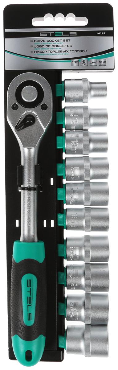 Набор торцевых головок Stels, 10-22 мм, с ключом-трещоткой 1/2, 11 предметов набор головок skrab 44493 торцевых с трещоткой 1 2 12пр cv