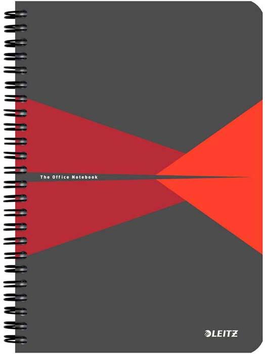 Бизнес-тетрадь Leitz Office Card, А5, клетка, цвет: красный