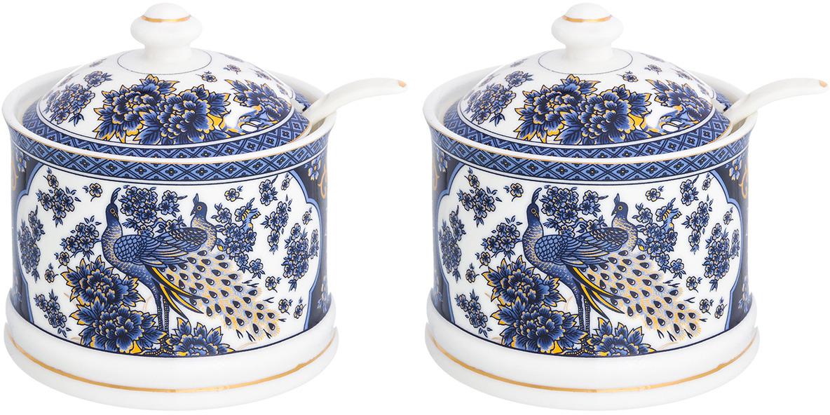 Набор сахарниц Elan Gallery Павлин синий, с ложками, 320 мл, 4 предмета набор для специй elan gallery павлин 4 предмета 180718