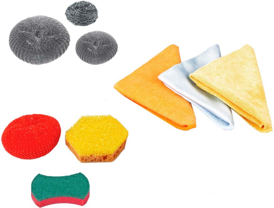 Набор для мытья посуды Dobb&Mopp Все для дома, цвет: желтый, серый, красный
