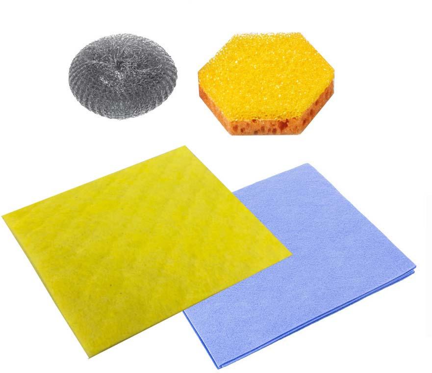 Набор для мытья посуды Dobb&Mopp Чистый дом, цвет: желтый, голубой, серый тряпка dobb