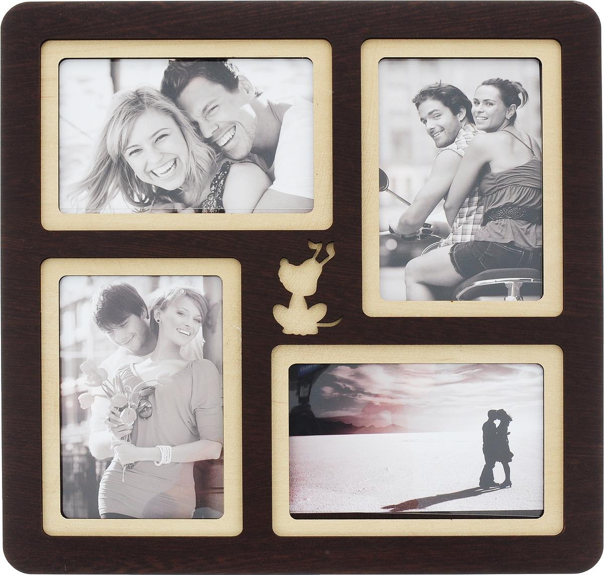 Коллаж Platinum, цвет: венге, на 4 фото. PE-044 фотоальбом platinum классика 240 фотографий 10 x 15 см