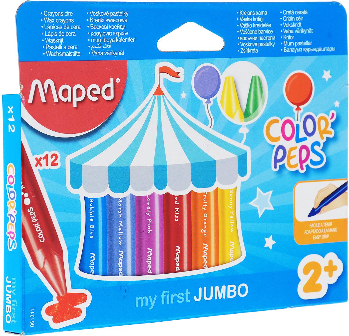 Maped Восковые мелки Color Peps 12 шт карандаши восковые мелки пастель micador гипоаллергенные восковые мелки выкручивающиеся 24 шт