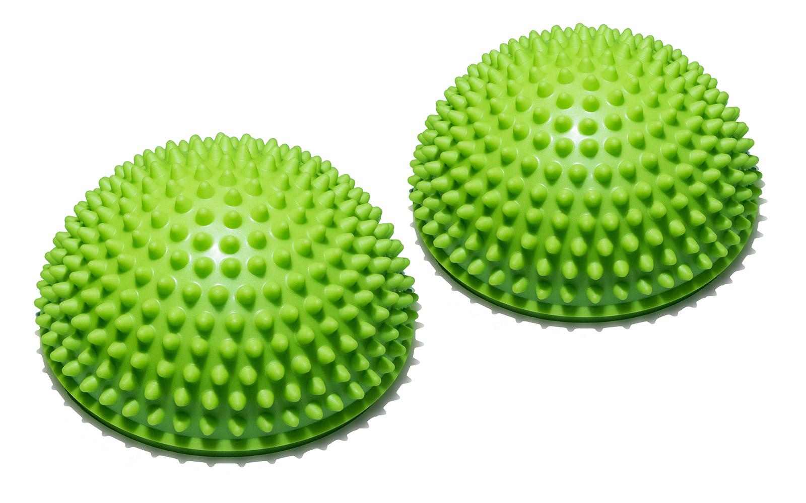 Полусфера Original FitTools, массажная, балансировочная, цвет: зеленый, 2 шт