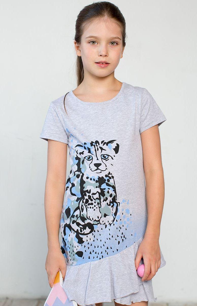 Платье для девочки Kogankids, цвет: серый меланж. 121-332-22. Размер 80121-332-22Платье для девочки выполнено из натурального хлопка и декорировано милым принтом. Асимметричная юбка с рюшами. Подходит на каждый день и для летних прогулок. Для маленьких размеров 80-92 предусмотрена плечевая застежка на кнопки.