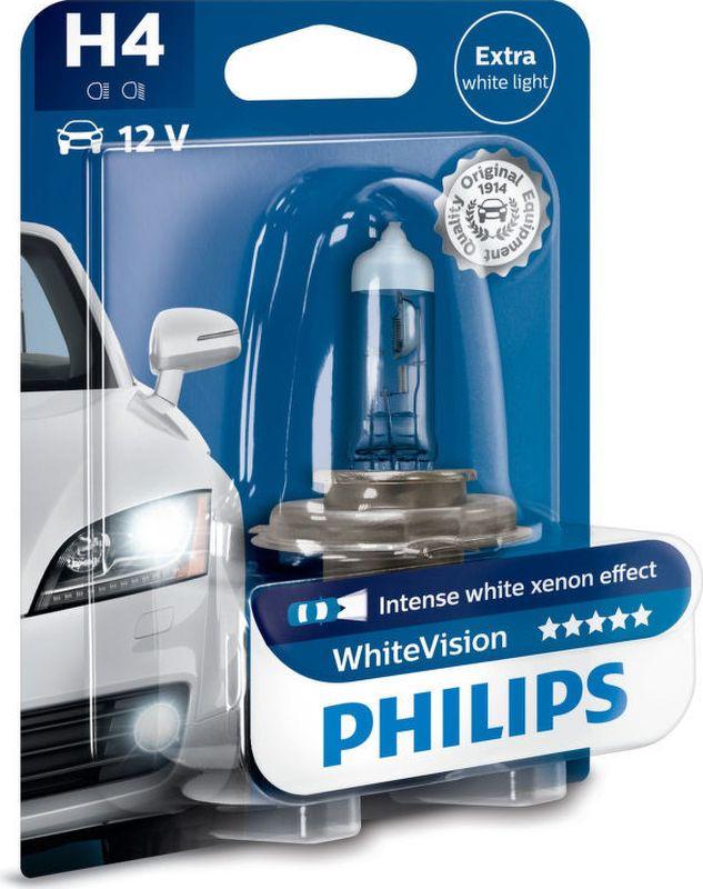 Лампа автомобильная галогенная Philips WhiteVision, для фар, цоколь H4 (P43t), 12V, 60/55W телевизор philips 32pht4132 60