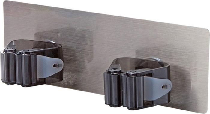 Держатель настенный для швабр и щеток Homsu, цвет: черныйHOM-1000Настенный держатель на клейкой основе, имеет два крепления, идеально подходит для хранения швабр и щеток.
