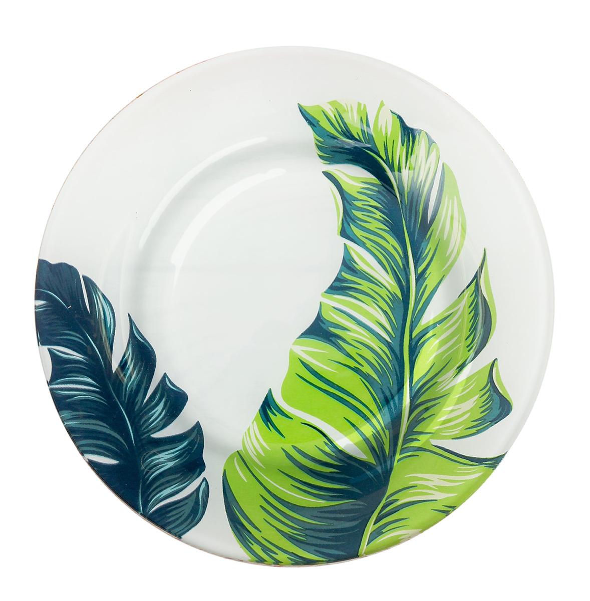 """Тарелка """"Листья"""", цвет: белый, зеленый, диаметр 20 см"""