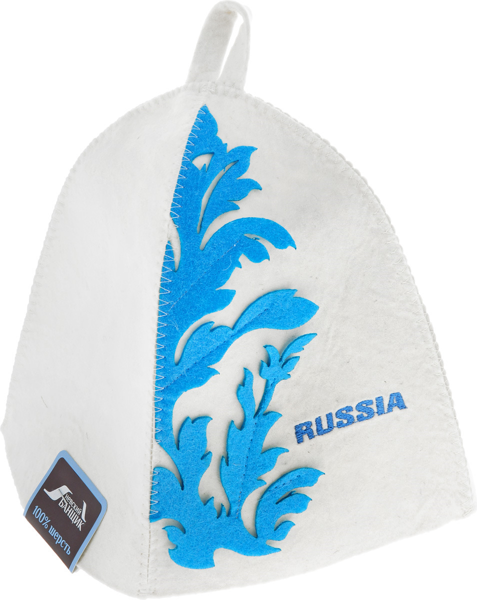 Фото - Шапка для бани и сауны RUSSIA, фетр, цвет: белый, голубой килт для бани и сауны невский банщик мужской цвет зеленый 60 см бн88
