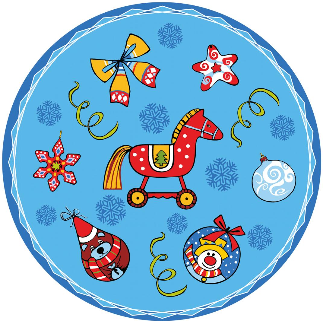 """Набор салфеток Мультидом """"Новогодние шары"""", цвет: синий, диаметр 31 см, 4 шт"""