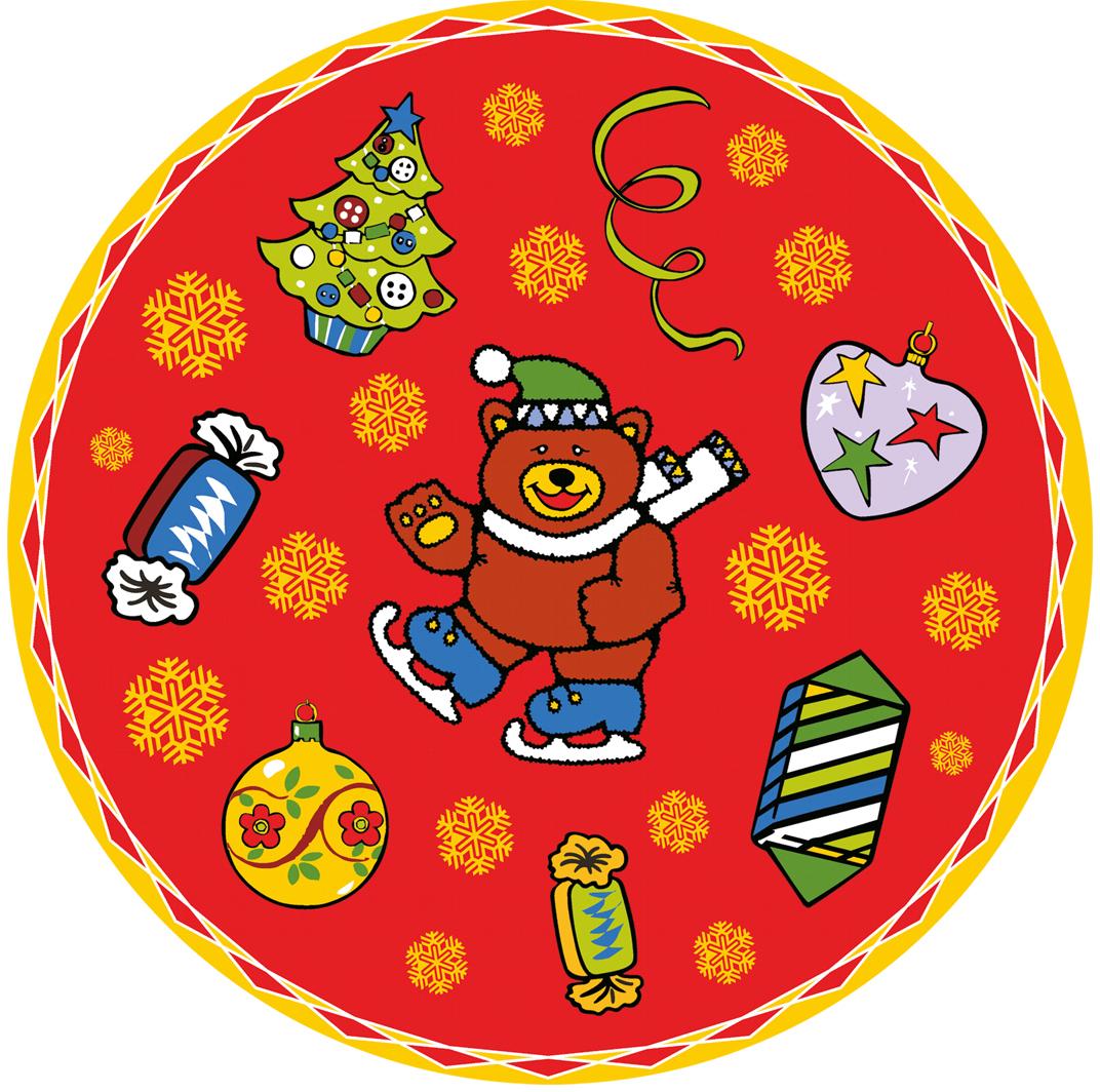 """Набор салфеток Мультидом """"Новогодние шары"""", цвет: красный, диаметр 31 см, 4 шт"""