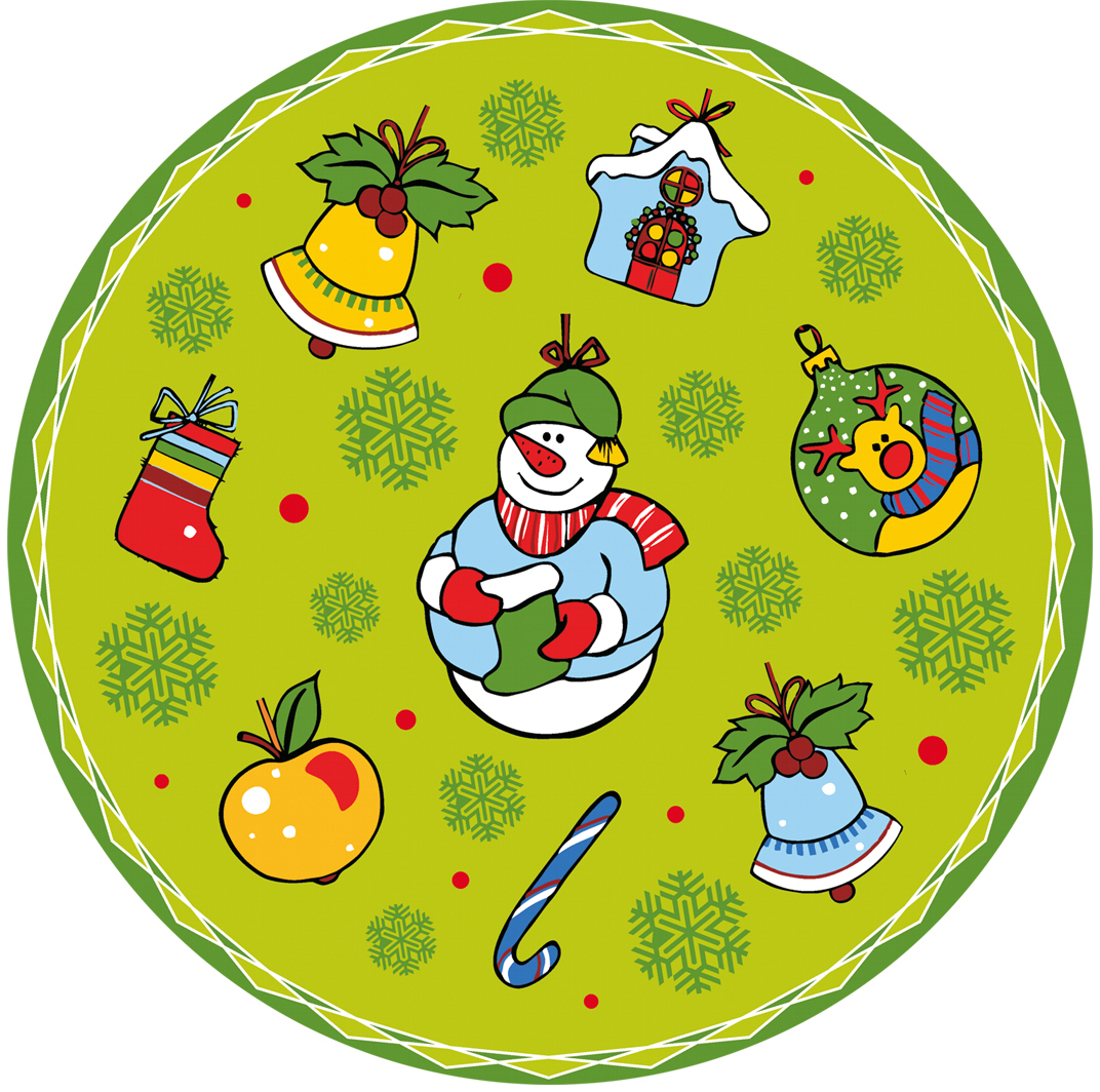 цена на Набор салфеток Мультидом Новогодние шары, цвет: салатовый, диаметр 31 см, 4 шт