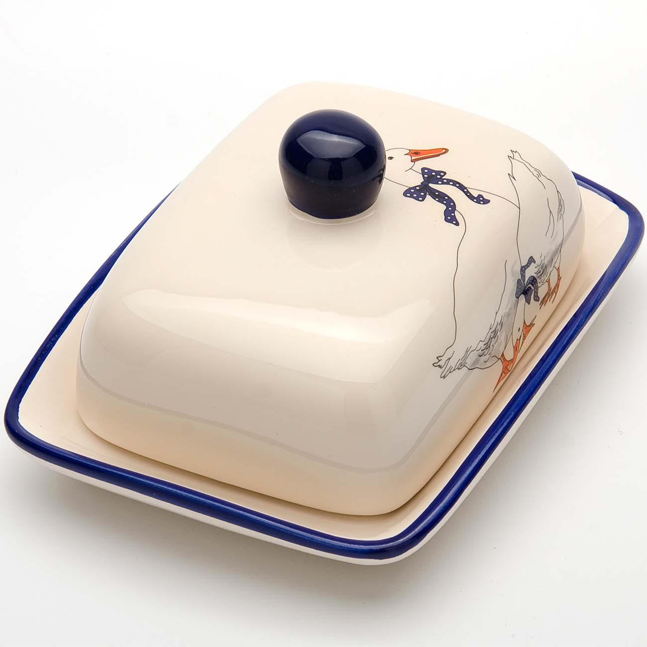 Масленка Loraine Гуси, цвет: белый, синий, оранжевый масленка idea кристалл цвет оранжевый прозрачный