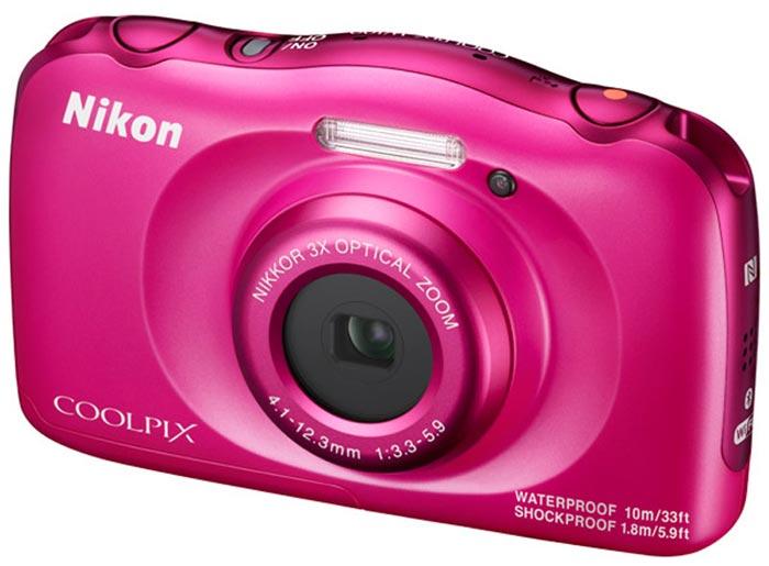 Компактная фотокамера Nikon CoolPix W100, цвет: розовый