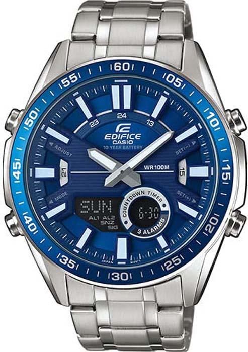 лучшая цена Часы наручные мужские Casio Edifice, цвет: синий, стальной. EFV-C100D-2AVEF