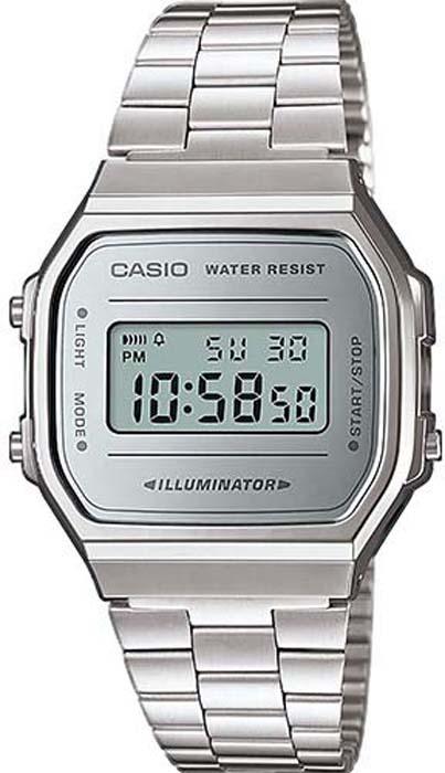 Часы наручные мужские Casio Collection Retro, цвет: стальной, серый. A-168WEM-7E все цены