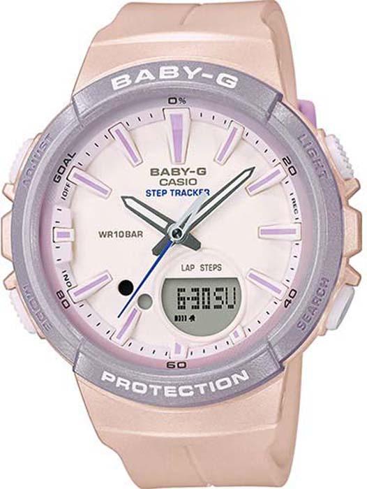 Часы наручные женские Casio Baby-G, цвет: персиковый, серый. BGS-100SC-4A