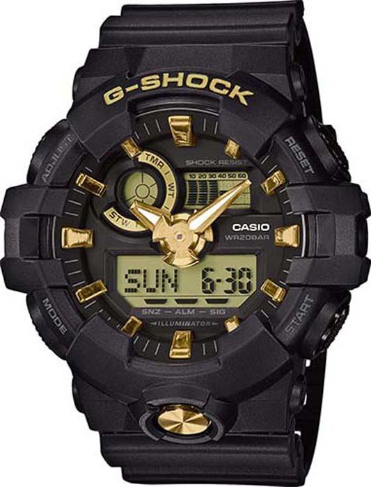 купить Часы наручные мужские Casio G-Shock, цвет: черный, золотой. GA-710B-1A9 по цене 11440 рублей