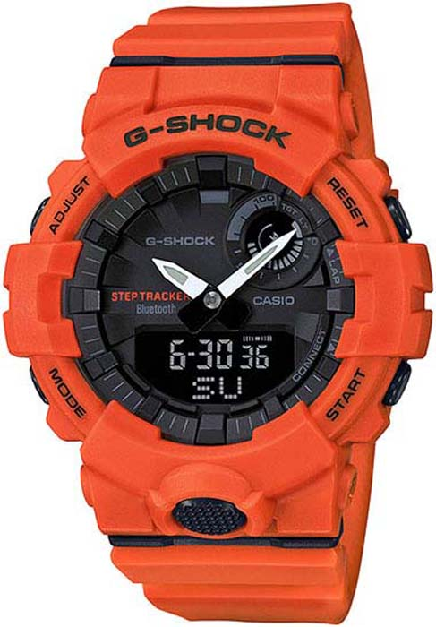 цена на Часы наручные мужские Casio G-Shock, цвет: оранжевый, черный. GBA-800-4A
