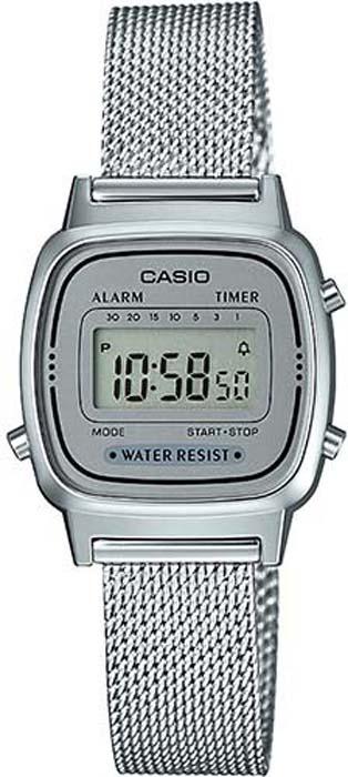 Часы наручные женские Casio Collection, цвет: стальной, серый. LA670WEM-7E все цены