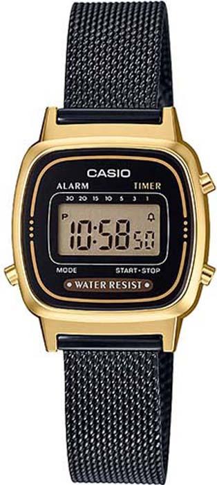 Часы наручные женские Casio Collection, цвет: черный, золотой. LA670WEMB-1E все цены