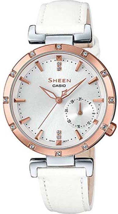 купить Часы наручные женские Casio Sheen, цвет: белый, розово-золотой. SHE-4051PGL-7A по цене 10540 рублей