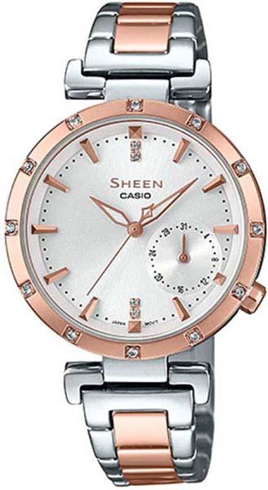 Часы наручные женские Casio Sheen, цвет: розово-золотой, стальной. SHE-4051SPG-7A casio she 3047d 7a