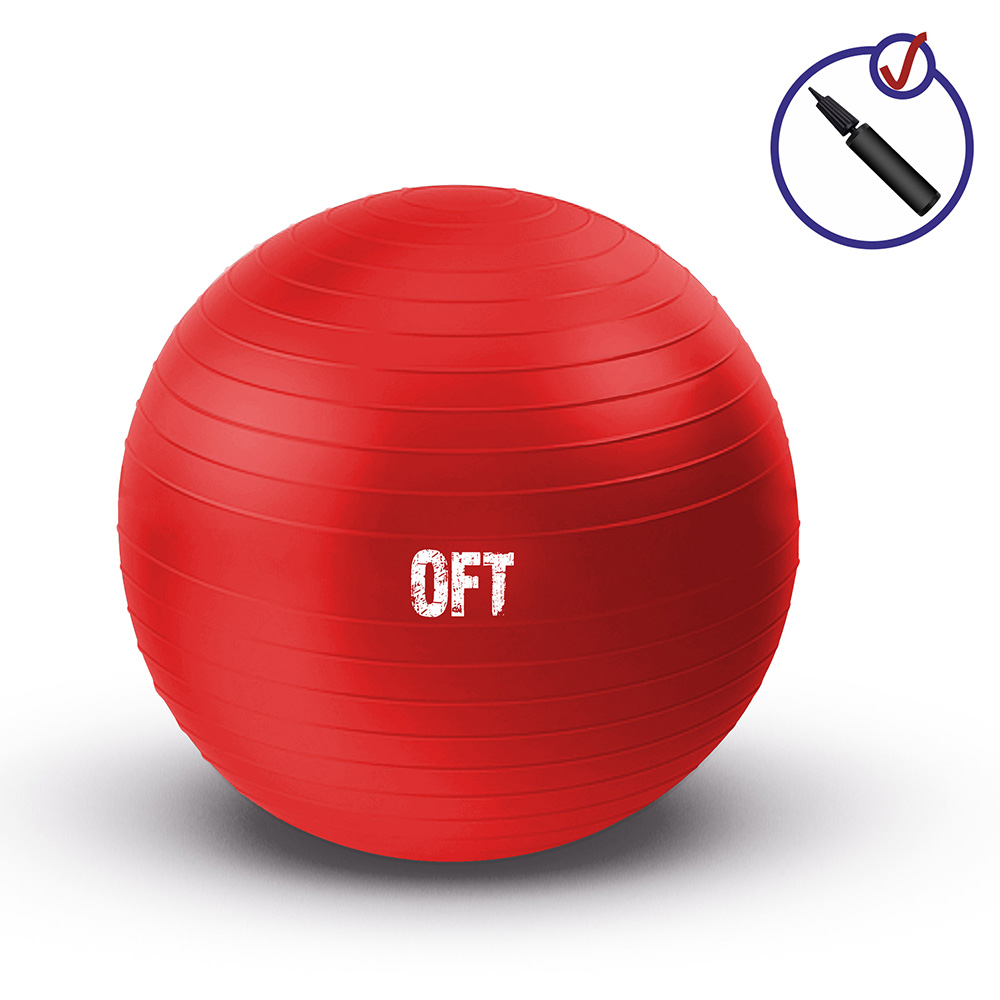 Гимнастический мяч Original FitTools, 65 см, цвет: красный