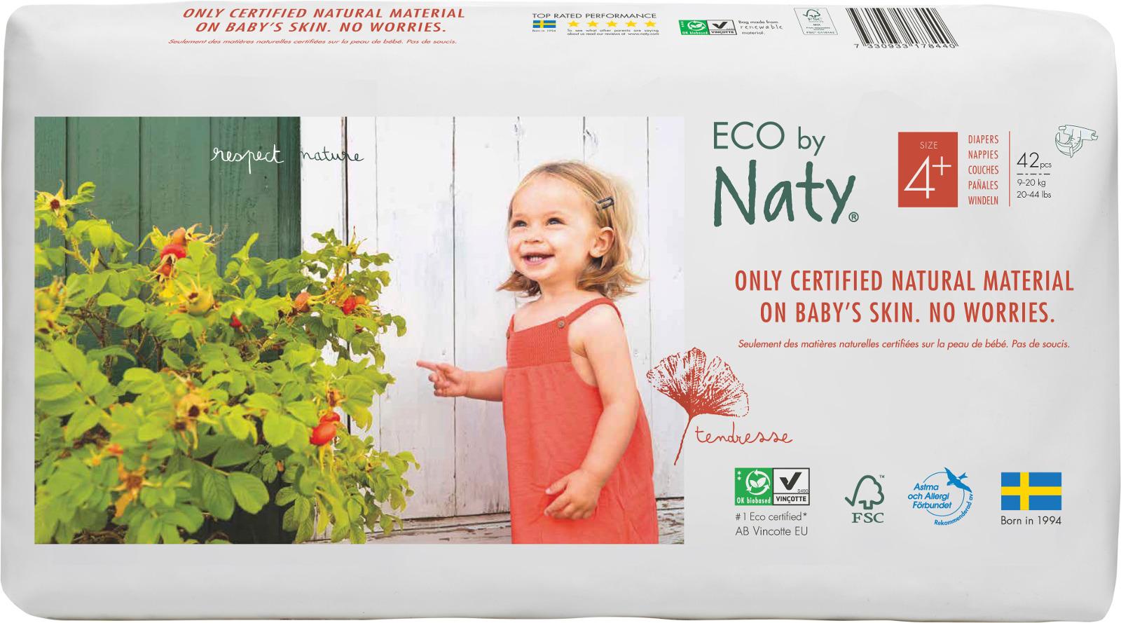 Подгузники Naty 9-20 кг (размер 4+) 42 шт цена 2017
