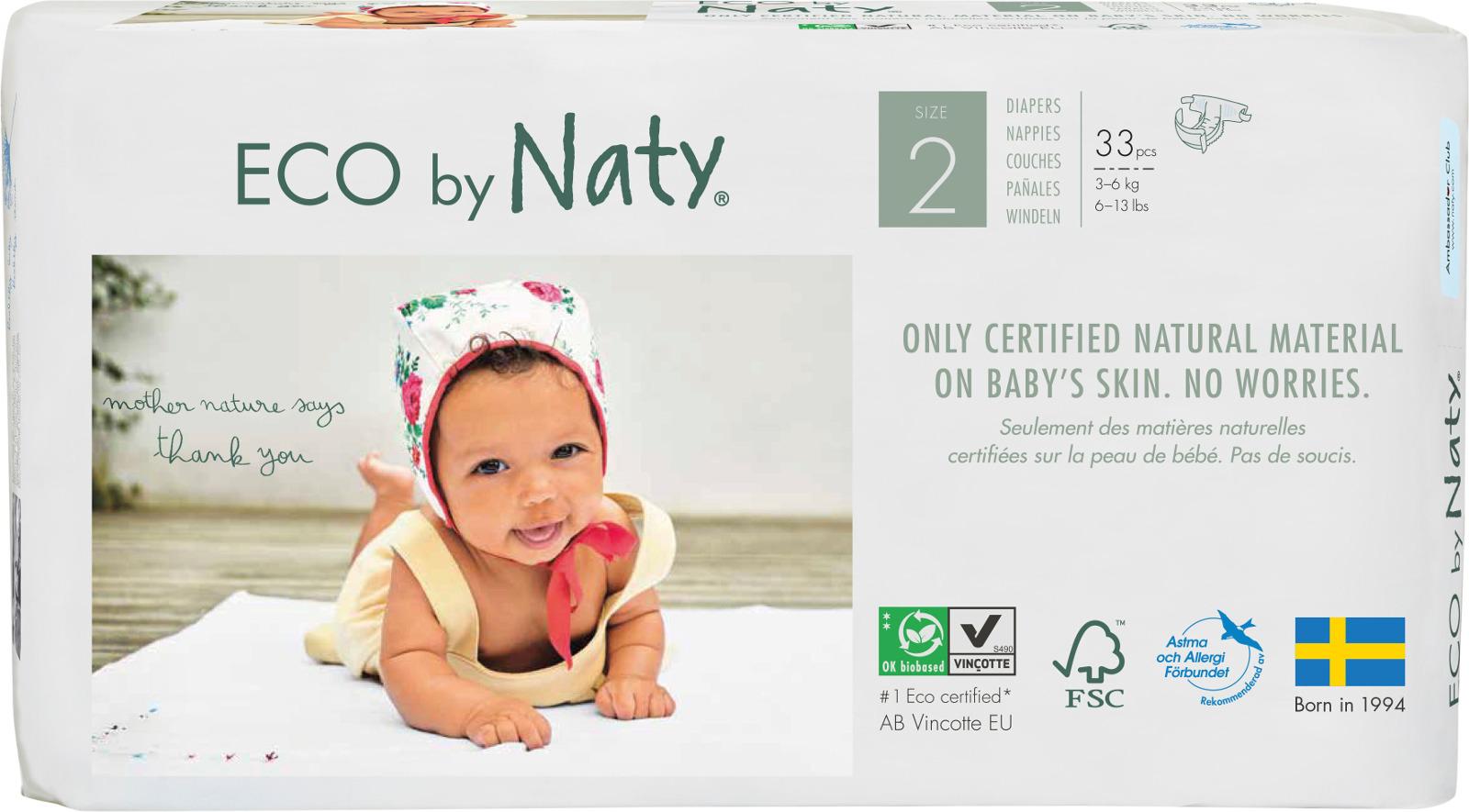 Подгузники Naty 3-6 кг (размер 2) 33 шт цена 2017