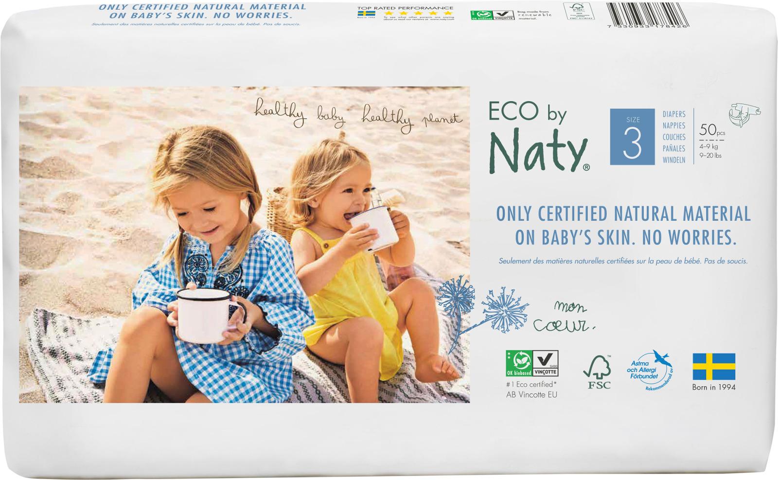 Подгузники Naty 4-9 кг (размер 3), 50 шт