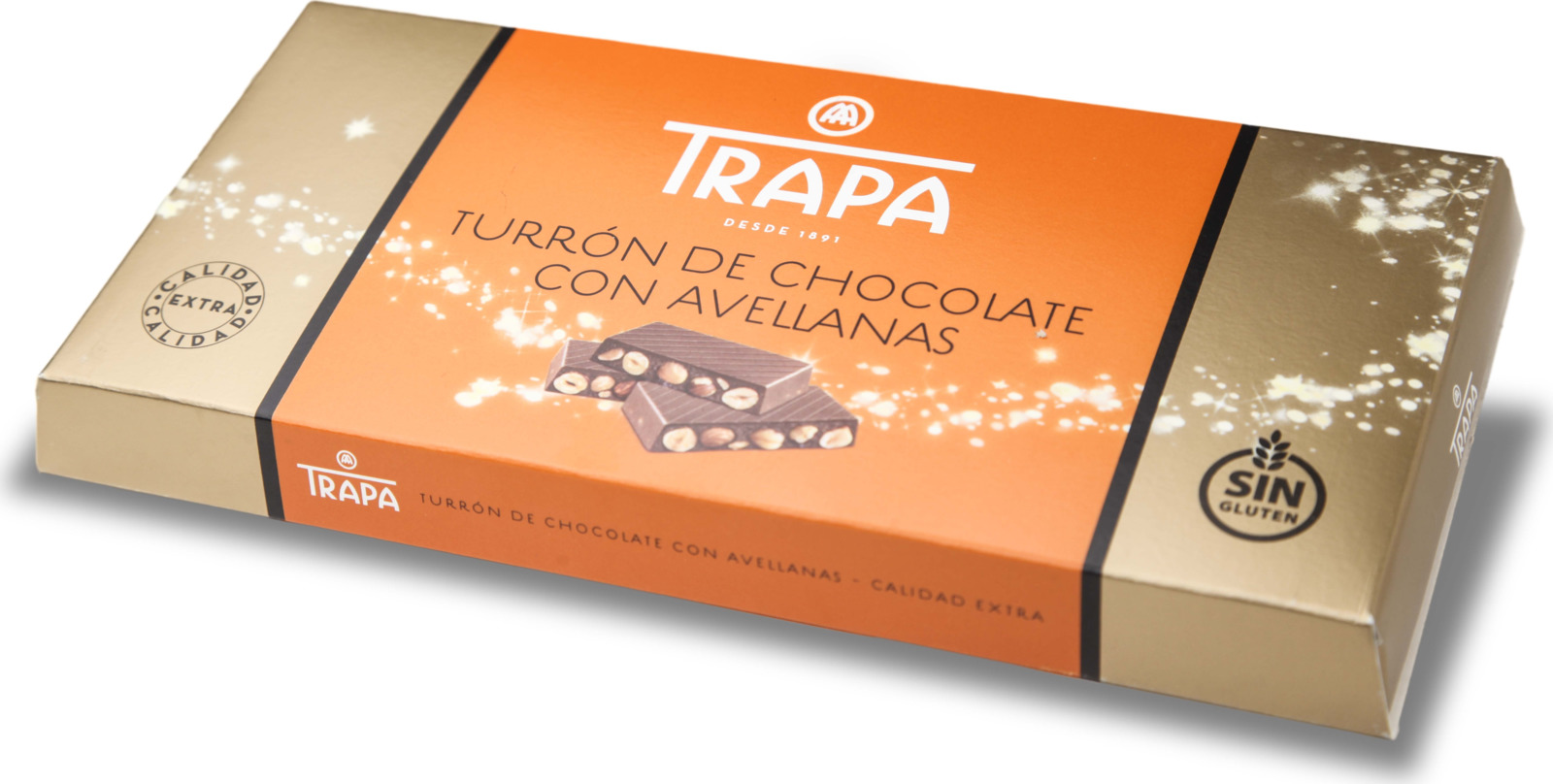 Молочный шоколад Trapa Turron, с цельным фундуком, 200 г молочный шоколад trapa corazоn bar с апельсиновой начинкой 100 г