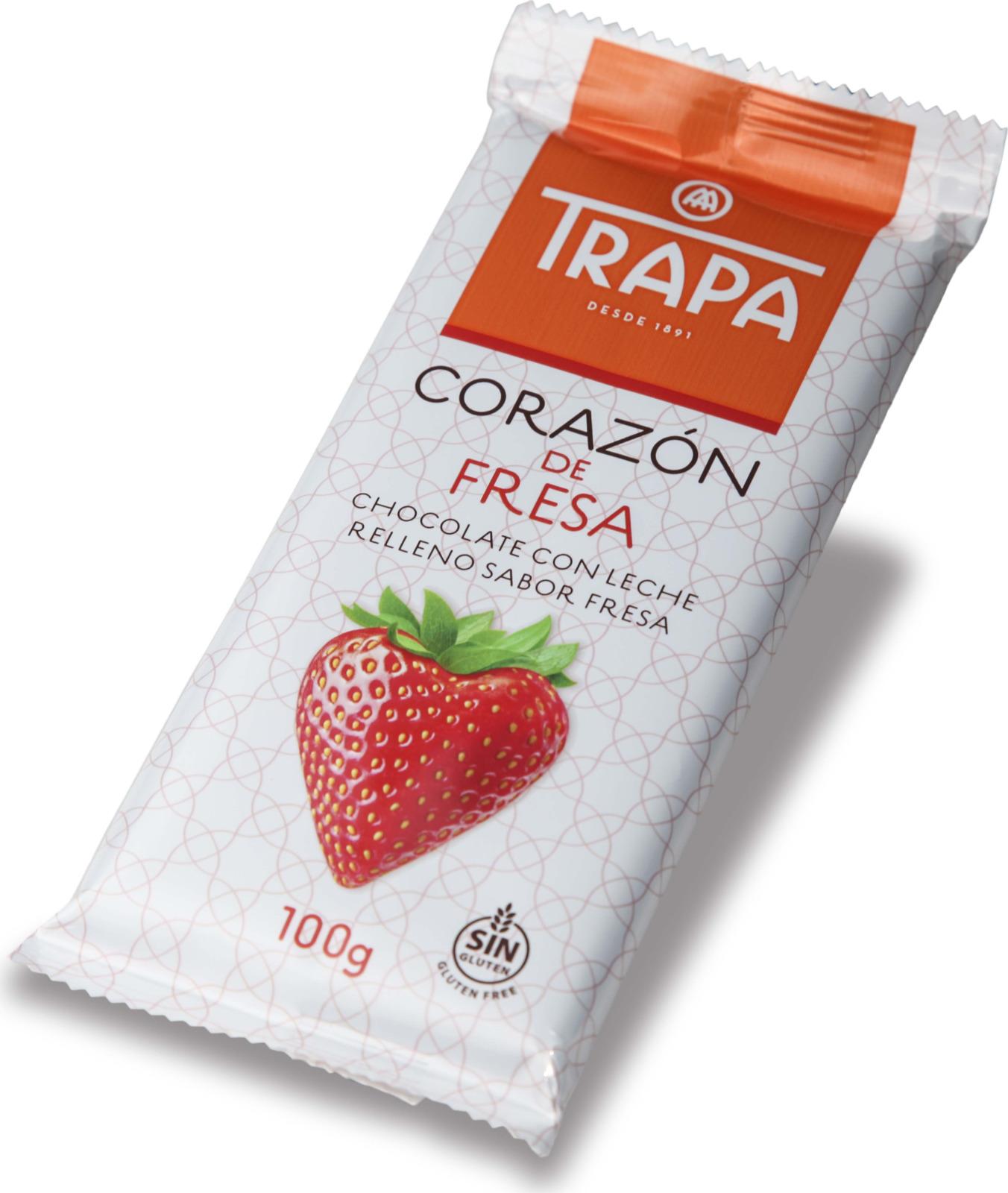 Молочный шоколад Trapa Corazоn Bar, с клубничной начинкой, 100 г кремлина мамапапа флами микс подушечки 5 злаков с помадной начинкой в клубничной и йогуртовой глазури 140 г