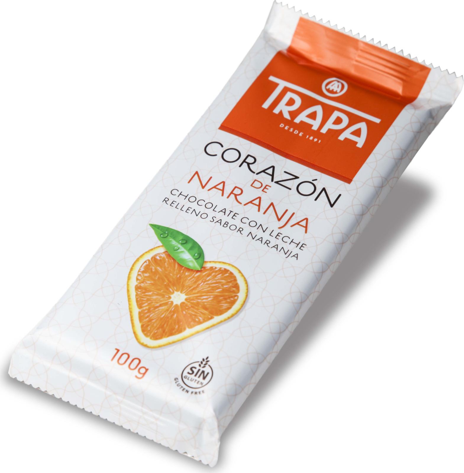Молочный шоколад Trapa Corazоn Bar, с апельсиновой начинкой, 100 г lindt creation шоколад фондан молочный шоколад c начинкой 100 г