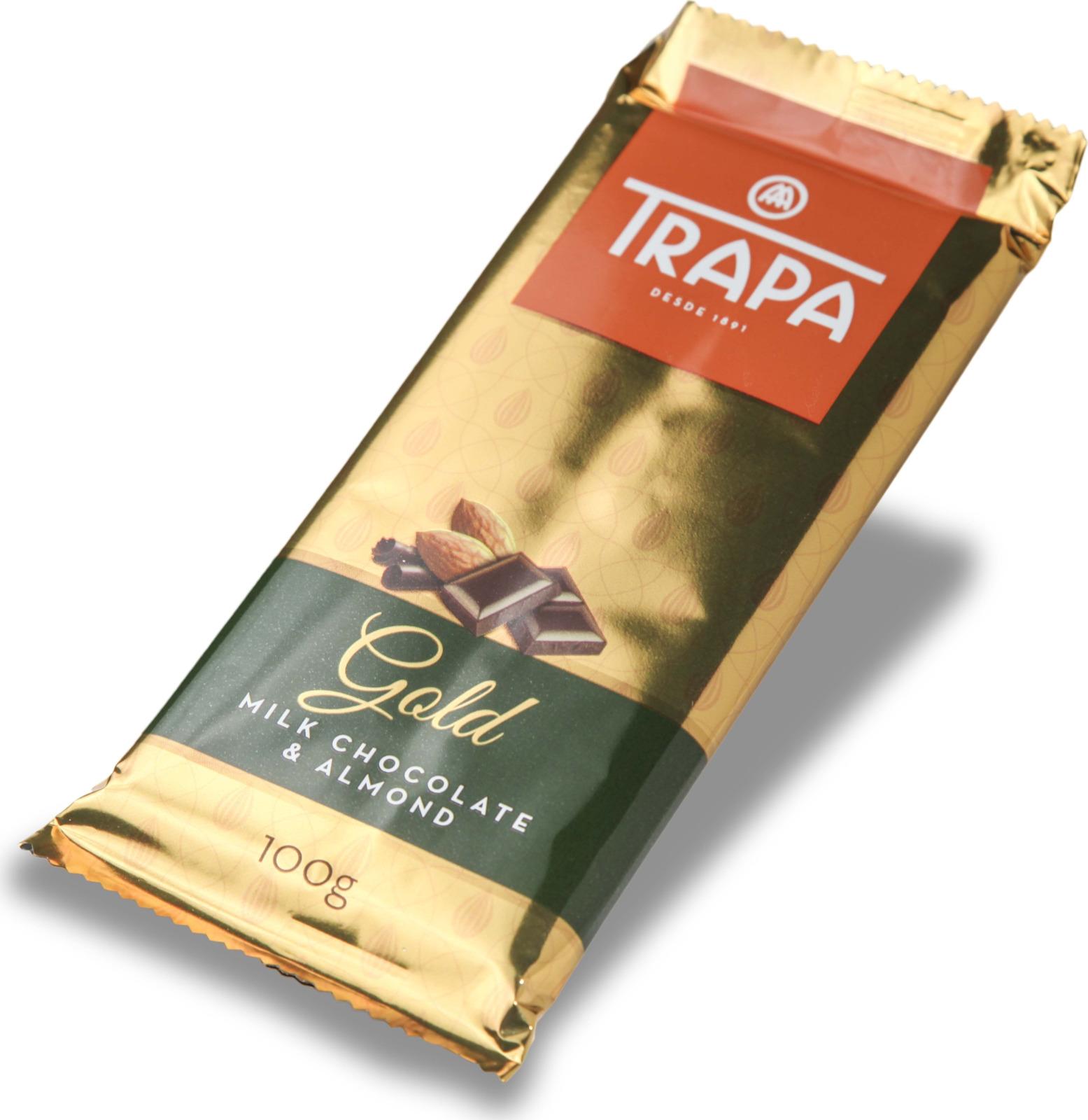 цена Молочный шоколад Trapa Gold Bar, с миндалем, 100 г онлайн в 2017 году