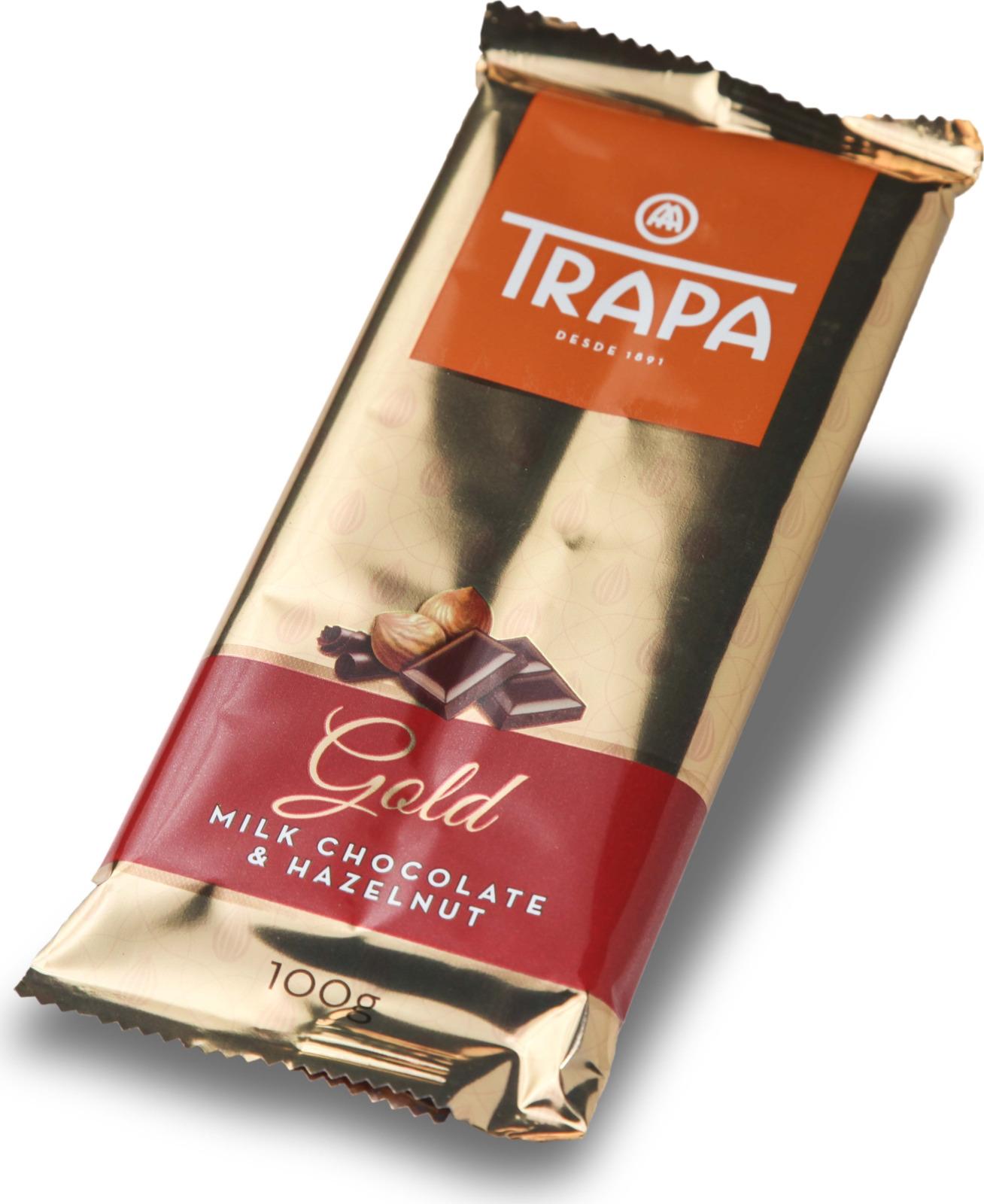 цена Молочный шоколад Trapa Gold Bar, с фундуком, 100 г онлайн в 2017 году