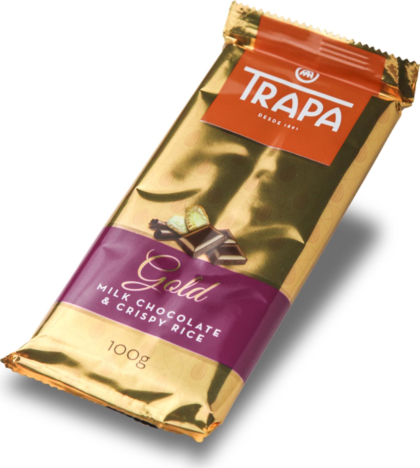 цена Молочный шоколад Trapa Gold Bar, с воздушным рисом, 100 г онлайн в 2017 году