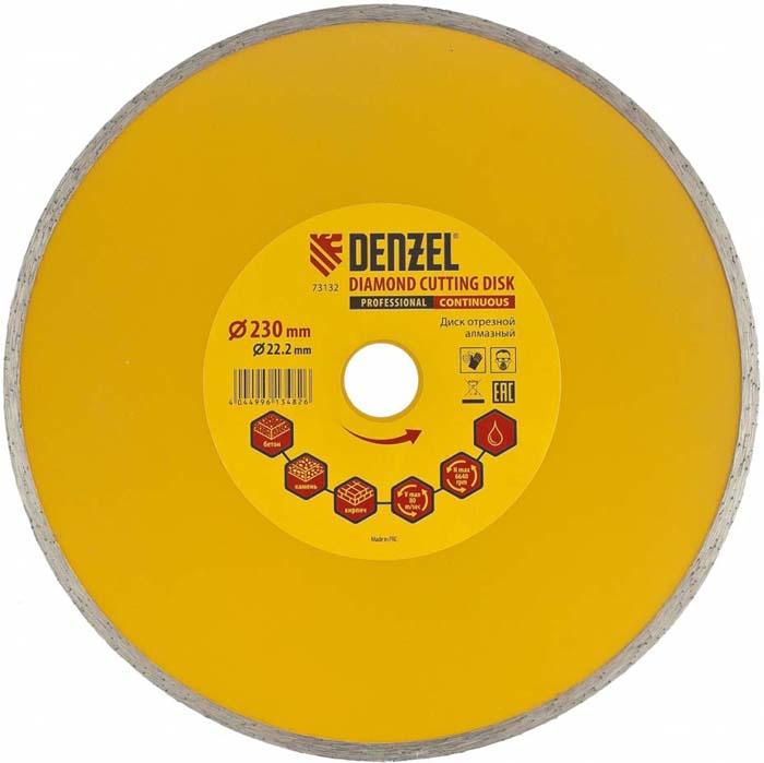 Диск алмазный отрезной сплошной Denzel, мокрая резка, 230 х 22,2 мм диск алмазный sparta 731275 отрезной 230 22 2мм сухая резка
