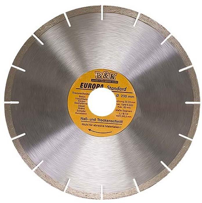 Диск алмазный отрезной сегментный Sparta EUROPA Standard, сухая резка, 230 х 22,2 мм диск алмазный отрезной сегментный sparta europa standard сухая резка 230 х 22 2 мм