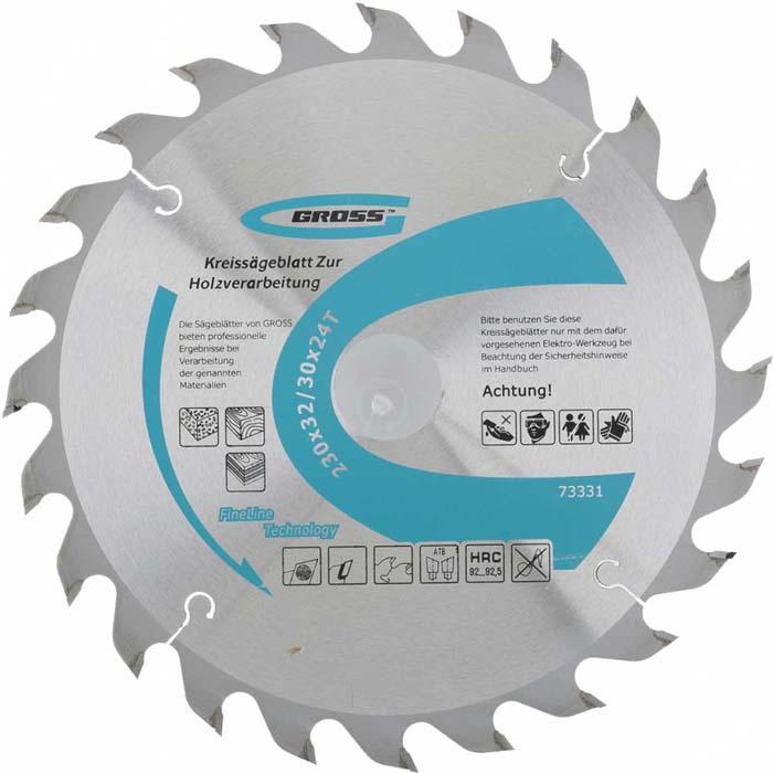 Диск пильный Gross, по дереву, 24Т, 230 x 32/30 мм диск пильный dwt ksb 230 xf