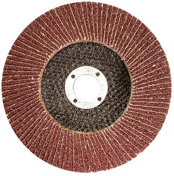 Круг лепестковый торцевой Matrix, P 24, 125 х 22,2 мм74041Круг лепестковый торцевой изготовлен из прямоугольных элементов шлифовальной шкурки на тканевой основе, которые расположены в виде веера на подложке из стекловолокна. Применяется в шлифовальных работах по металлу, дереву и другим материалам. Используется с УШМ.
