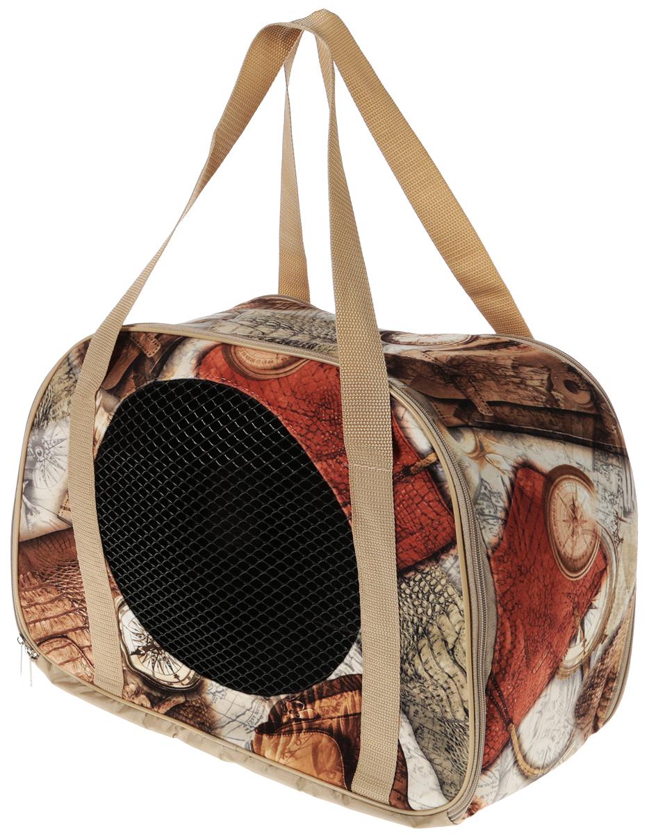 Сумка-переноска для животных Теремок Компас, цвет: бежевый, 45 х 22 х 30 см сумка переноска для животных зоомарк цветы цвет коричневый бежевый 40 х 25 х 32 см