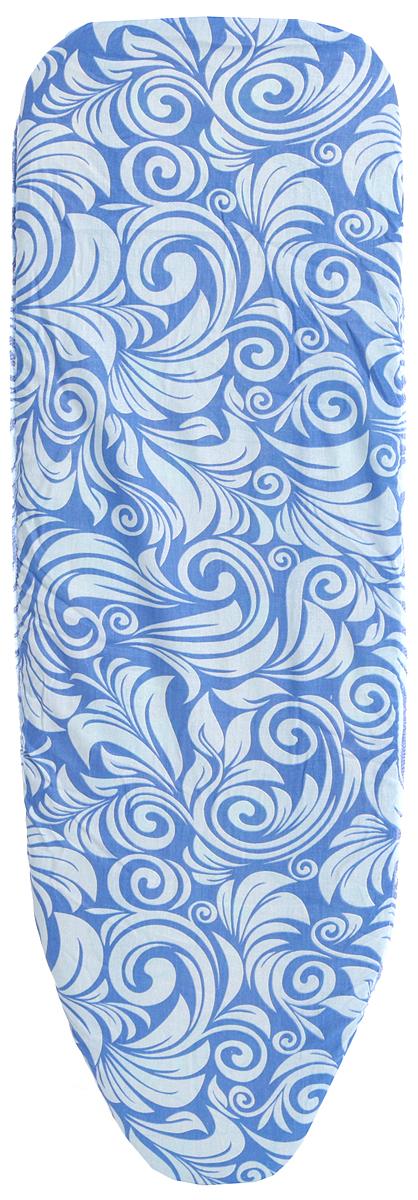 Чехол для гладильной доски Eva, на резинке, цвет: белый, синий, 119 х 37 см чехол для гладильной доски eva с поролоном цвет бежевый синий бордовый 119 х 37 см